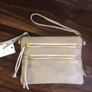 Handbags - Zipper taupe clutch